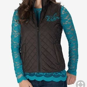 brown and teal embroidered cowgirl guardian vest